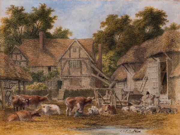 HILLS Robert O.W.S. (1769-1844) - A farm yard.