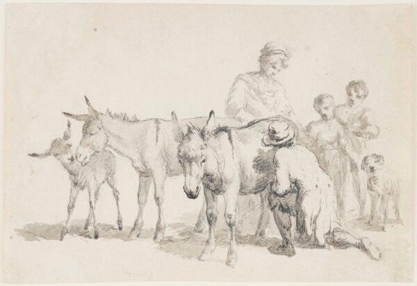 HILLS Robert P.O.W.S. (1769-1844) - Tending Donkeys.