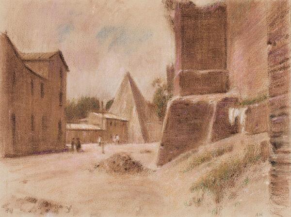 HIREMY-HIRSCHL Adolf (1860-1933) - Rome: the Pyramid of Caius Cestius.