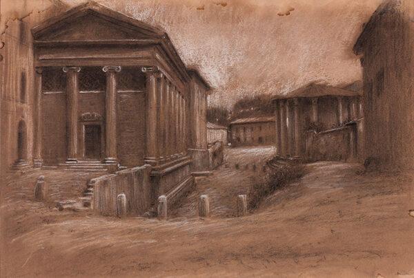 HIREMY-HIRSCHL Adolf (1860-1933) - Rome: The Forum Boarium, Temples of Portunus and of Hercules Victor.