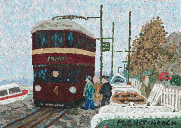 HITCHCOCK Malcolm (1929-1998) - The trolley bus: 'Autumn day at the Yaucht (sic) Club'.