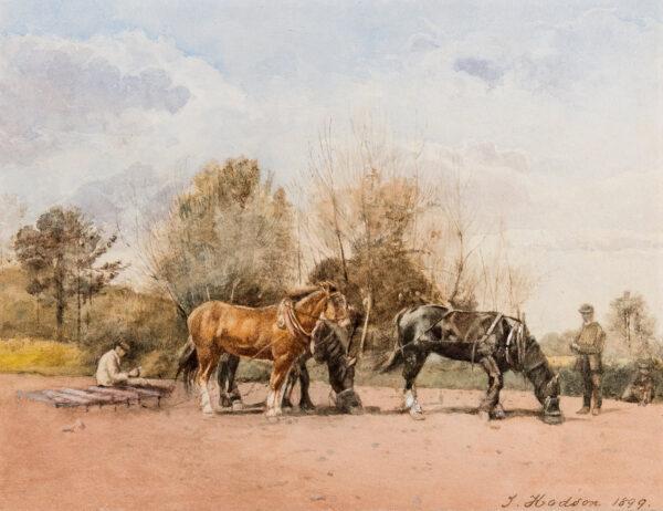 HODSON J (Late 19th century) - Plough team taking a break.