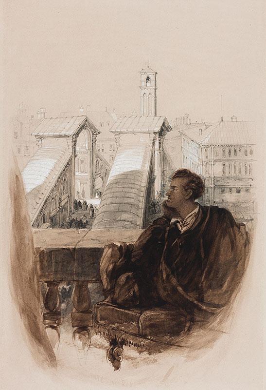 HOLLAND James (1799-1870) - 'Ponte di Rialto, Venezia'; Byron overlooking the Rialto Bridge.