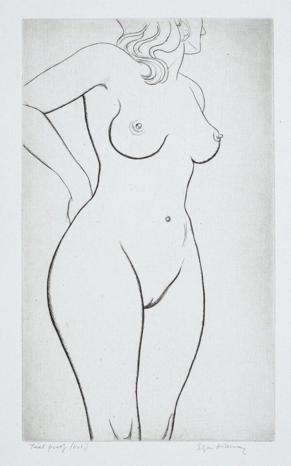 HOLLOWAY Edgar (1914-2008) - Standing Nude.