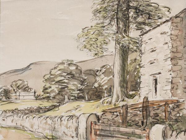 HOLMES Sir Charles (1868-1936) - Cumbria; 'Barn near Pendragon'.