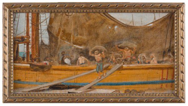 HOLROYD Sir Charles (1861-1917) - Unloading a sailing ship.
