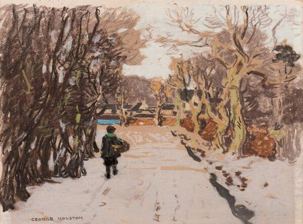 HOUSTON George R.S.A. R.S.W. (1869-1947) - Snow at Lynn Dalry, Ayrshire.