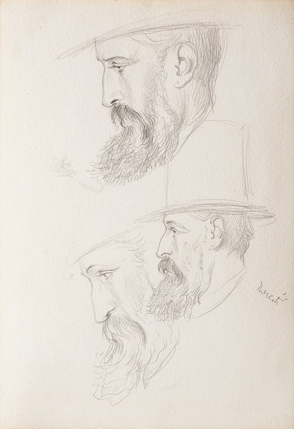 HOWARD George (Earl of Carlisle) ( 1843-1911) - Top Hat and Profile; studies of a man.