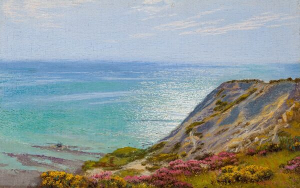 HUGHES Arthur (1832-1915) - 'The Landslip', possibly near Ventnor, Isle of Wight.