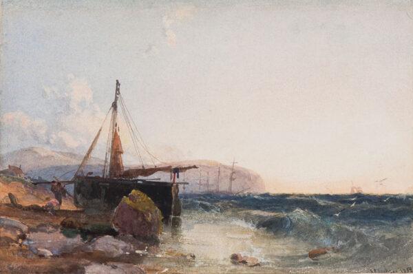 JACKSON Samuel Phillips (1830-1904) - Beached fishing boat.