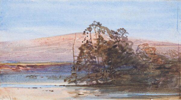 JACOBI Otto Reinhard P.R.C.A. (1812 Konigsberg-1901 Canada) - Trees and lake: study.
