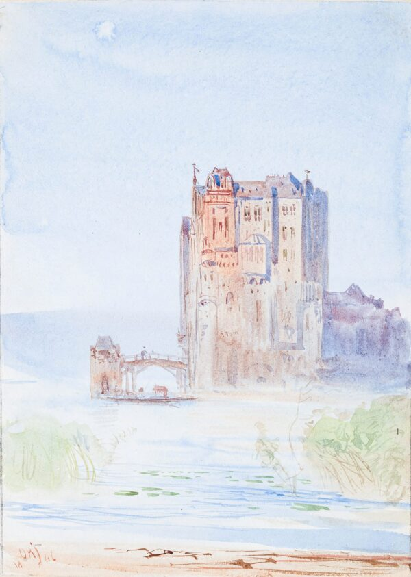 JACOBI Otto Reinhard P.R.C.A. (1812 Konigsberg-1901 Canada) - Castle by a lake.