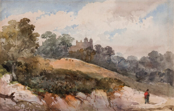 JENNINGS William George (1763-1854) - A view, possibly on Hampstead Heath Pencil and watercolour.