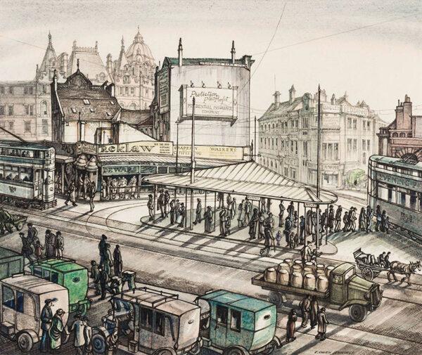 JENNINGS Edgar Owen (1899-1985) - 'Leeds: tram queue'.
