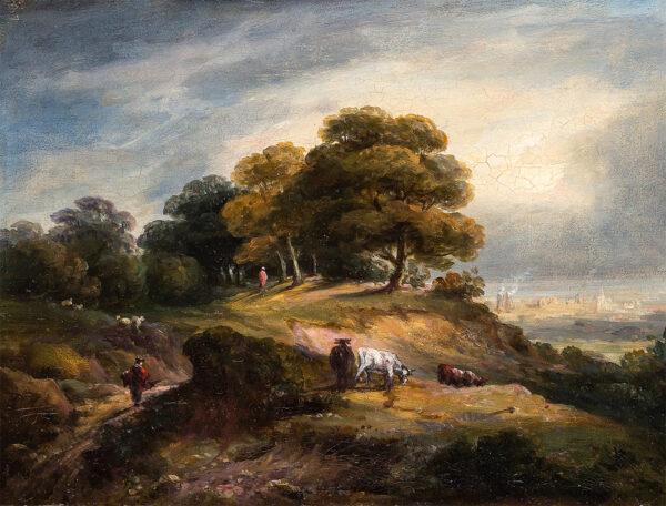 JENNINGS William George (1763-1854) - 'Hampstead Heath' Oil on millboard.