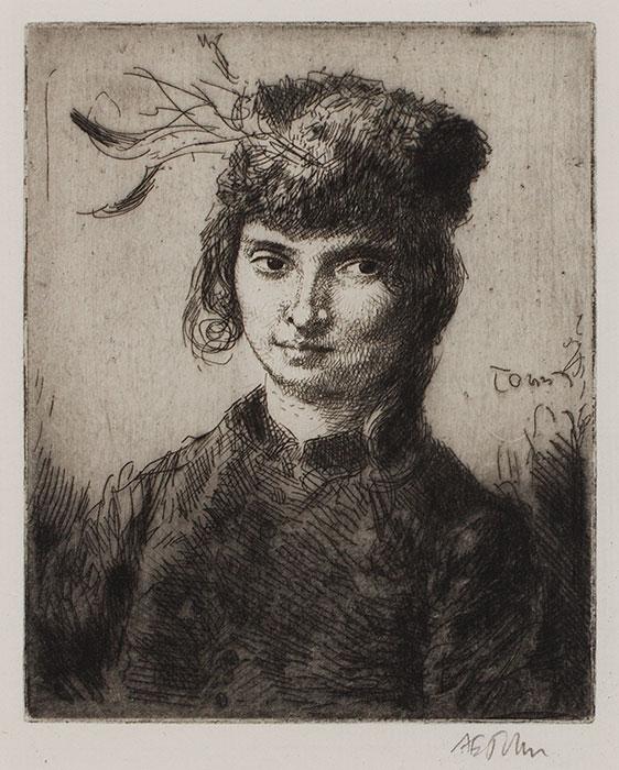 JOHN Augustus O.M. R.A. (1878-1961) - 'Girl with a Curl' (Dorelia) (CD64) Etching.