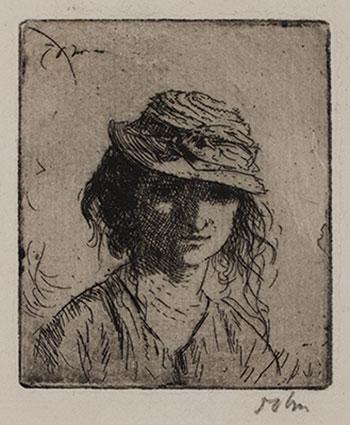 JOHN Augustus O.M. R.A. (1878-1961) - 'A Girls' Head – A' (CD56) Etching.