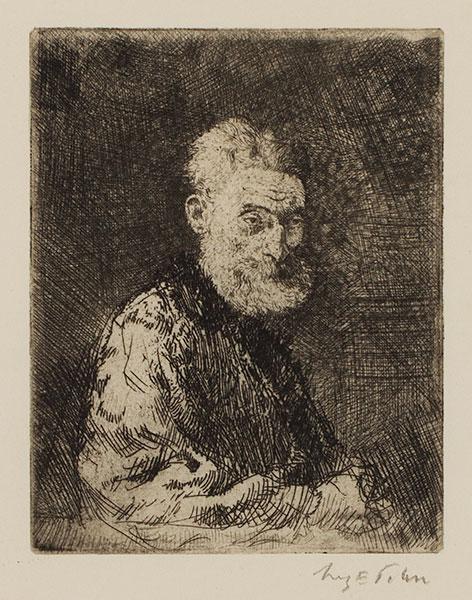 JOHN Augustus O.M. R.A. (1878-1961) - 'Old Man in a Fur Cloak' (CD32) Etching.