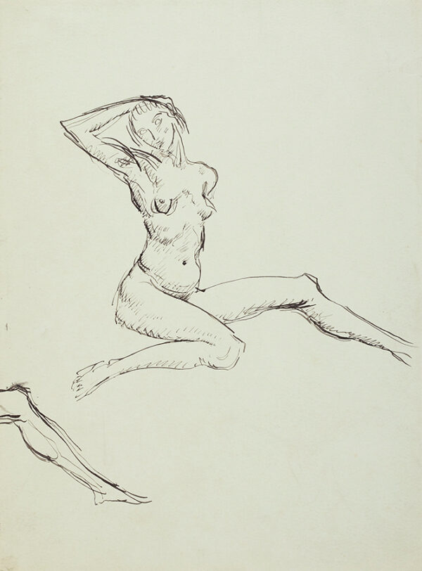 JOHN Augustus O.M. R.A. (1878-1961) - Study of a posed Nude, possibly for 'The Bathers' (unrealised) Pen and ink on blue grey paper.