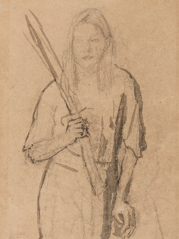 JOHN Gwen (1876-1939) - 'Standing Girl with wooden post in her hand'.