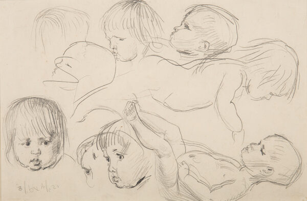 JOHN Augustus O.M. R.A. (1878-1961) - Studies, recto and verso, of the artist's sons (including Caspar).