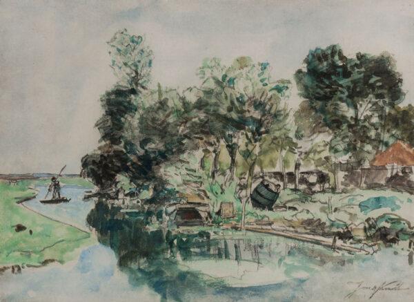 JONGKIND Johan (1819-1891) - Fishermen on a river.