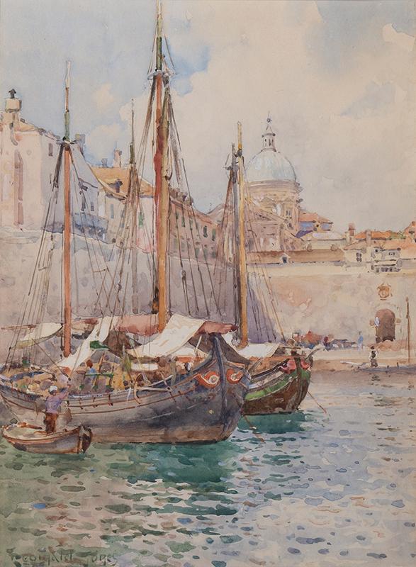 JONES Reginald R.B.A. (1857-1920) - Valetta harbour, Malta.