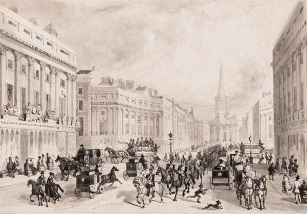 JONES T.H. (probably Thomas Howell Jones fl.c.1840) - 'The Regent's Circus, Jay's General Mourning Warehouse' (Oxford Circus).
