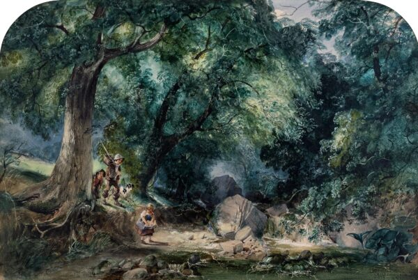 JUTSUM Henry (1816-1889) - Fording a stream.