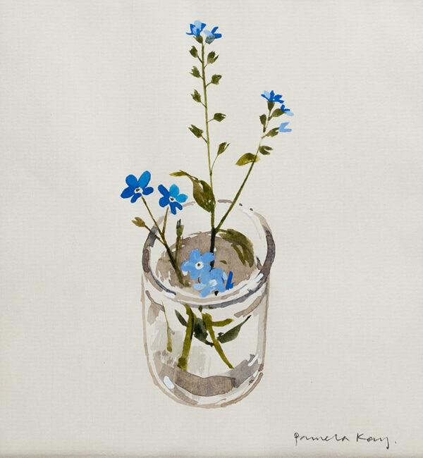 KAY Pamela R.W.S. N.E.A.C. (b.1939) - 'My Garden: forget-me-nots in a glass'.