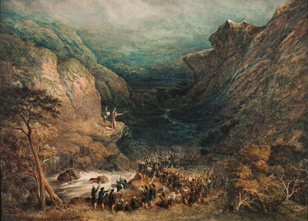KEARNEY William Henry V.P.N.W.S. (1800-1858) - The Lady of the Lake (Walter Scott, 1810, Canto 3, Verse VIII); Roderick Dhu and the hermit set alight the fiery cross and summon the clan to war against James V and the Lowlanders.