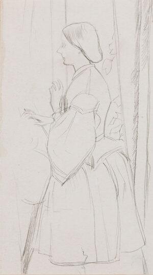 KEENE Charles (1823-1891) - Study of a seated woman III.