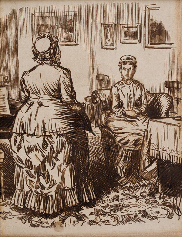 KEENE Charles (1823-1891) - 'Applicant for Cook's place: 'I've always been in fam'lies where the servants is kep', Mum – which I mus'say, M'um, I likes my Rum in the Hevening'.