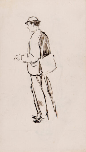 KEENE Charles (1823-1891) - Man in a bowler, with satchel and umbrella.