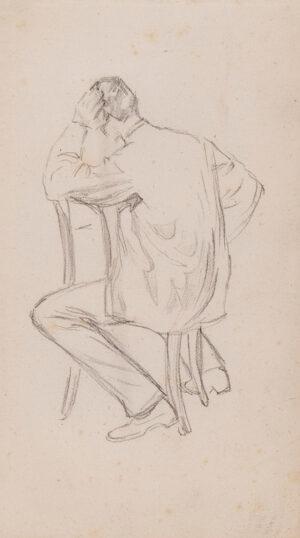 KEENE Charles (1823-1891) - Seated man, back view.