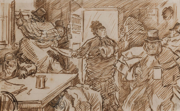 KEENE Charles (1823-1891) - The Cabman's Shelter – Enter Mrs Caroline Giacometti Prodgers, a rich American and scourge of overcharging cabmen.