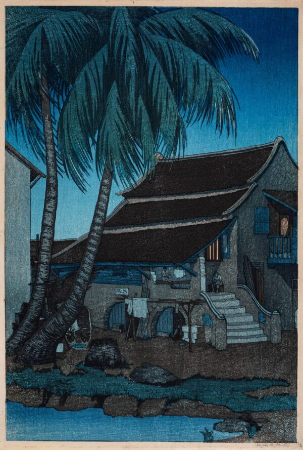 KEITH Elizabeth (1887-1956) - 'The Old House, Malacca' Woodcut printed in colours.