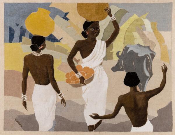 KERR Nora (fl.1940s) - Impressions of Ranchi, India Gouache on linen.