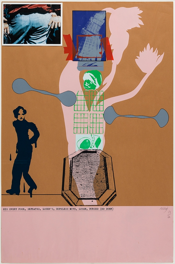 KITAJ Ron (1932-2007) - 'His every poor, defeated,loser's, hopeless move, buried (Ed Dorn)'  Screenprint.