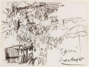KNIGHT Dame Laura R.A. R.W.S. (1877-1970) - 'Epsom', Derby Day.