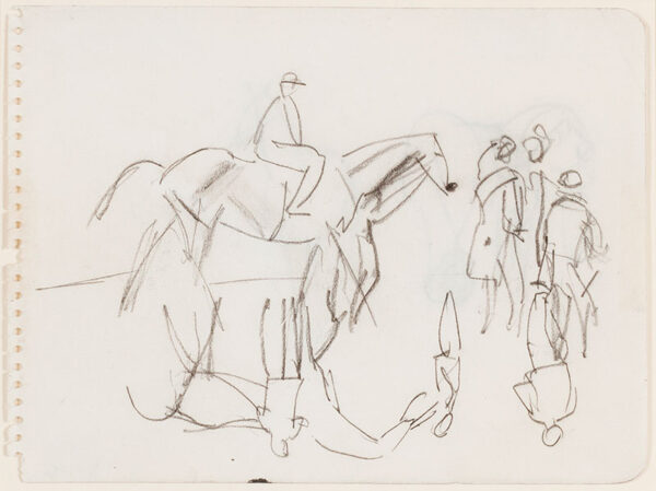 KNIGHT Dame Laura R.A. R.W.S. (1877-1970) - Race horses at the Derby, Epsom.