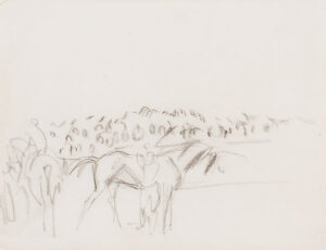 KNIGHT Dame Laura R.A. R.W.S. (1877-1970) - Race horses at the Derby Charcoal.