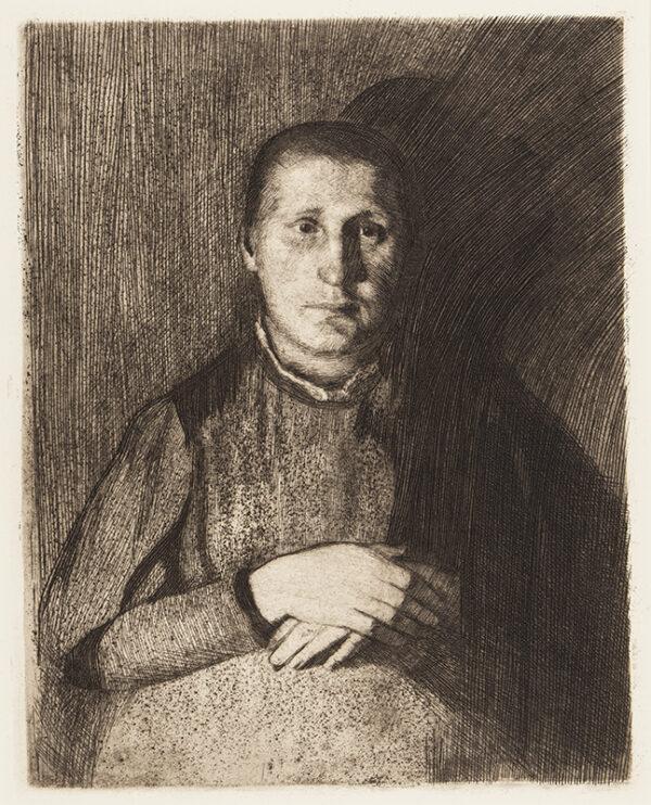 KOLLWITZ Kathe (1867-1945) - 'Woman with folded hands' (Kn.