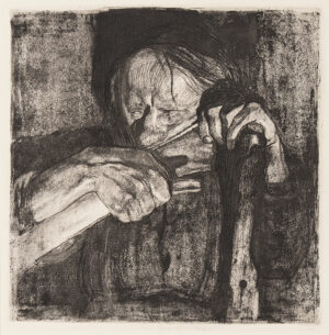 KOLLWITZ Kathe (1867-1945) - 'Whetting the scythe' (Kn.