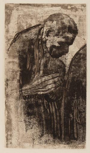 KOLLWITZ Kathe (1867-1945) - 'Mourning Man' (K.