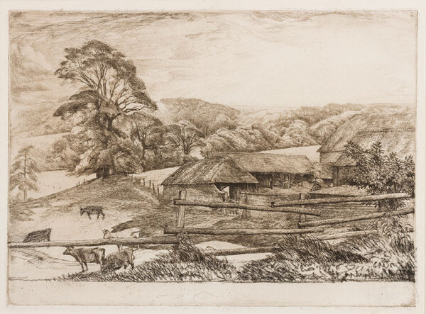 LACK Henry Martyn R.E. (1909-1979) - Downs near Chichester Etching.