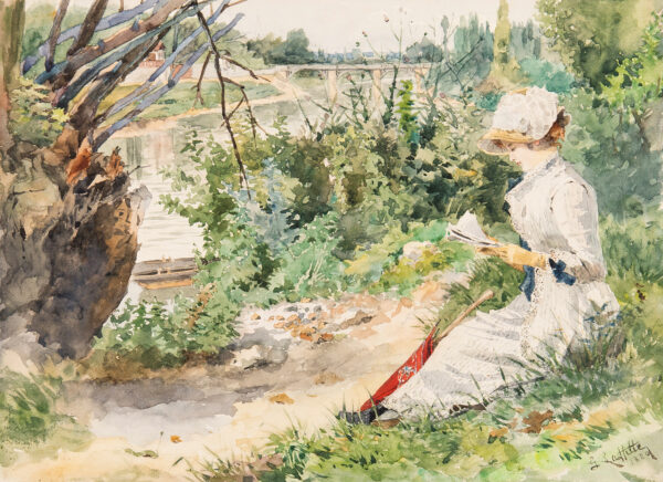 LAFITTE George (Late C19th) - On the banks of the Seine Watercolour.
