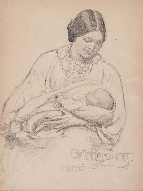 LAMBERT George Washington A.R.A. (1873-1930) - The artist's wife, Amy, and their son Constant.