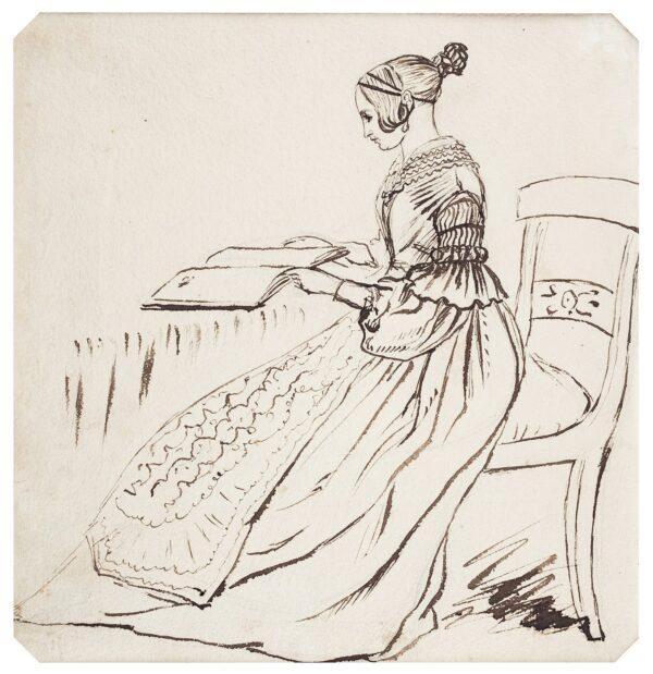 LANDELLS Ebenezer (1808-1860) - Girl, seated with an album.