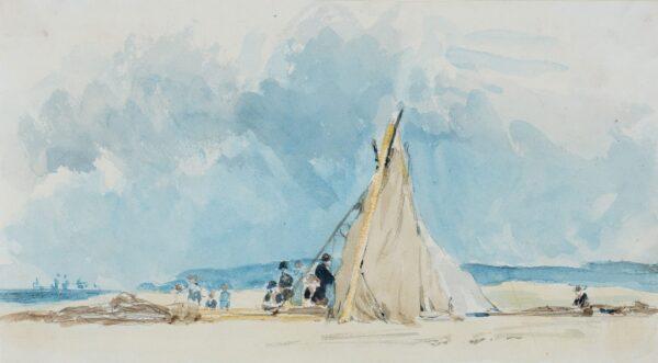 LANDELLS Ebenezer (1808-1860) - Fisherman's tent on a beach.